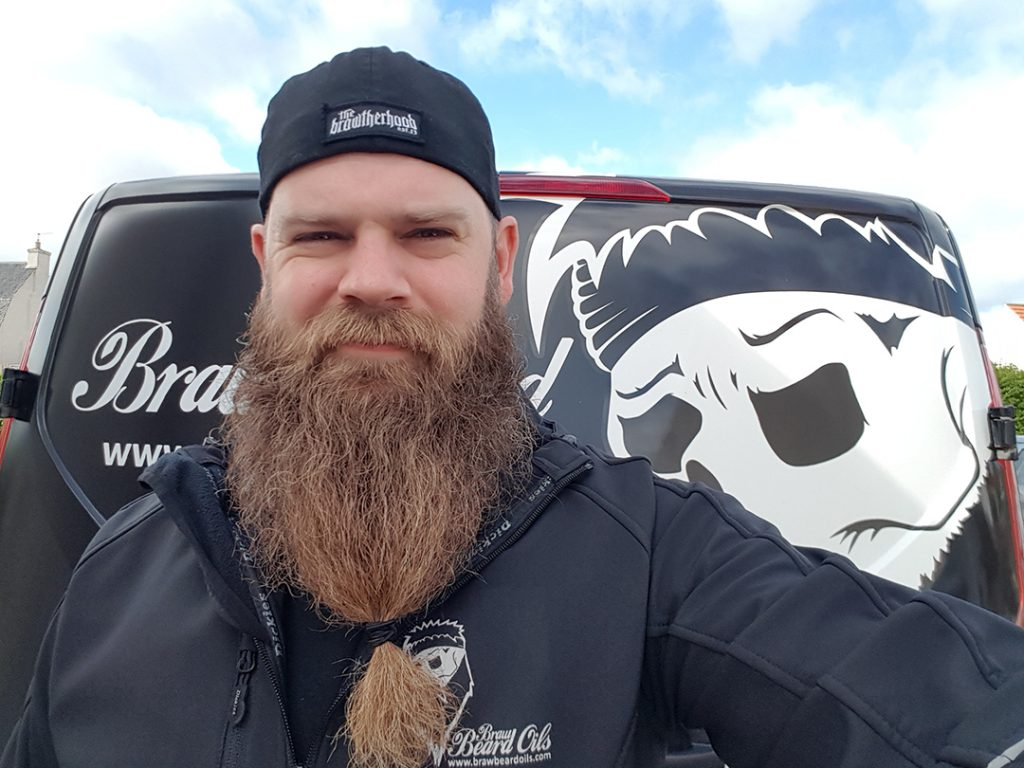Braw Beard oils Scotland Beard In the wind